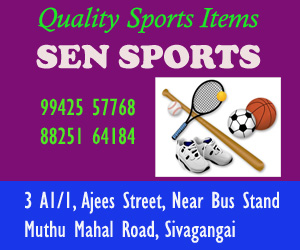 All sports items available at Sen Sports, near Sivaganga Bus Stand